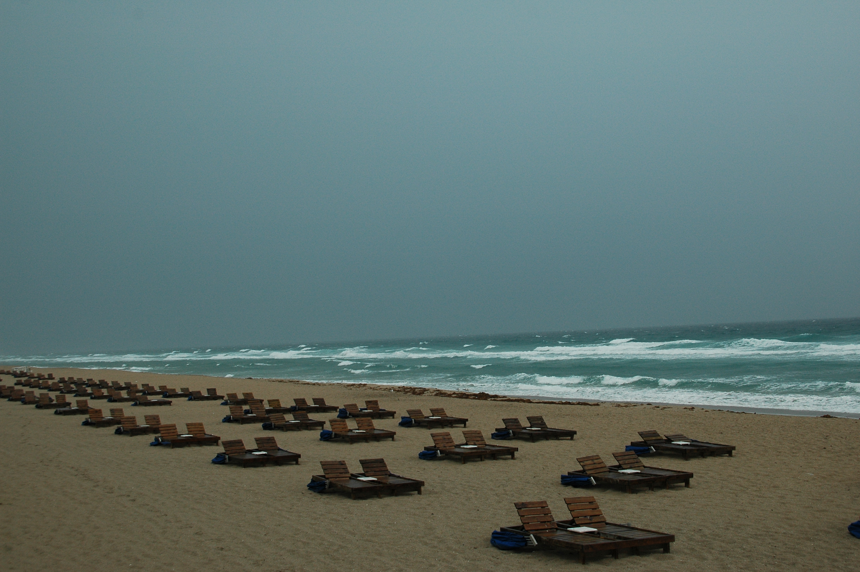 Joe Dobrow photo of empty beach lounges at Delray Beach, Florida